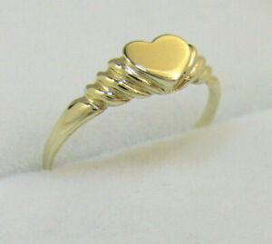14K Yellow Gold Ladies Heart Signet Ring / Pinky Ring Size: 3 - Engravable