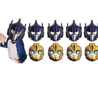 Transformers 8 Paper Masks Boys Birthday Party Favor Supplies Bumble Bee Optimus - Transformers Birthday