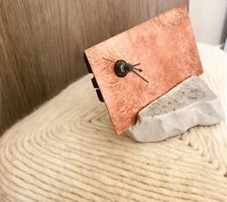 Hammered Copper Concrete contemporary table clock. Modern Clock. Handmade