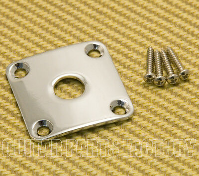 ships from USA Chrome Guitar Curved Jack /& Plate w// screws