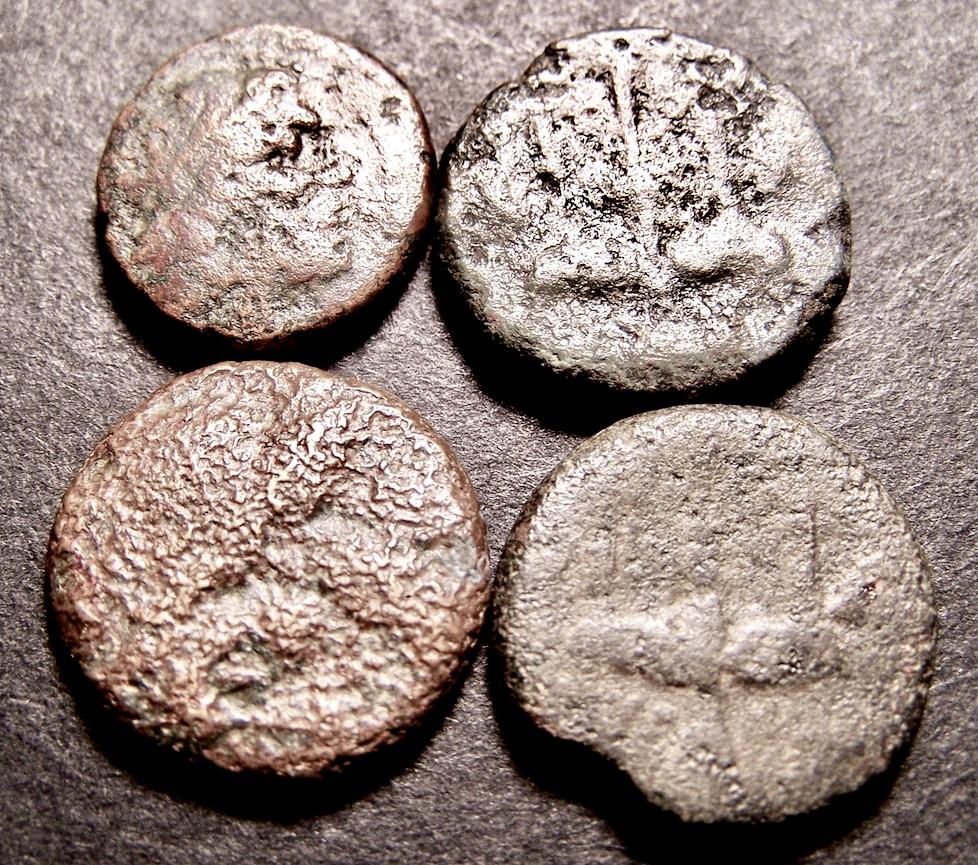 4 Greek Coins Lot, Poseidon Trident, Dolphins, Syracuse, Sicily, C 250 BC - $4.25