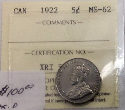 CANADA 1922 5 CENTS ICCS MS 62 MINT STATE UNC NICKEL  NICE COIN