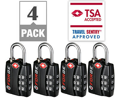 New Forge TSA Approved Luggage Locks - 4 Pack - Lifetime Warranty, Easy Read Dia