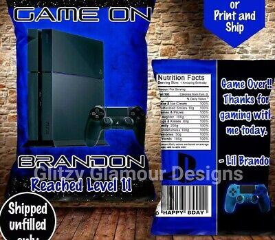 Custom Playstation chip bags, Gamer chip, gamer party favors, Playstation favor