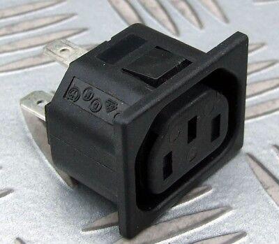 230v 6 Outlet (2x IEC FEMALE FLANGE MOUNT OUTLET SOCKET 230V 3 PIN 6.3mm TAB 10A)