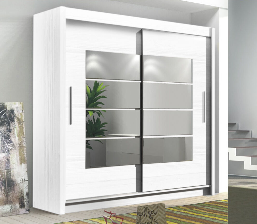 wide tall 2 sliding door mirrored wardrobe white black or oak finish