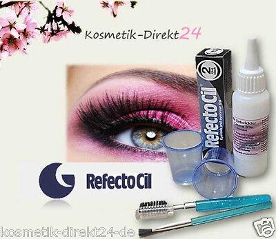 Refectocil Wimpernfarbe Färbeset Augenbrauenfarbe mit Oxydant und Becher