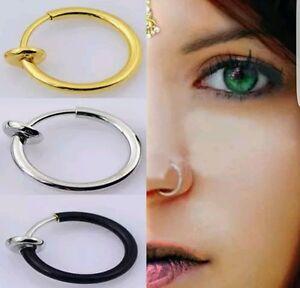 Fake Clip On Spring  Nose Hoop Ring Ear Septum Lip Eyebrow Earrings Piercing UK