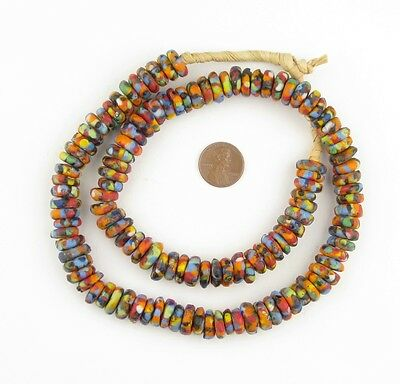 African Multicolor Fused Rondelle Recycled Glass Beads  Ghana