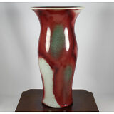 FINE LARGE CHINESE PORCELAIN VASE LANGYAO GLAZE OXBLOOD 20TH C