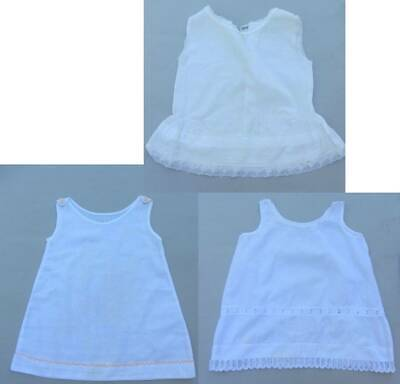 3 Antique toddler girl petticoats white embroidery lace 20's 30's slips cotton