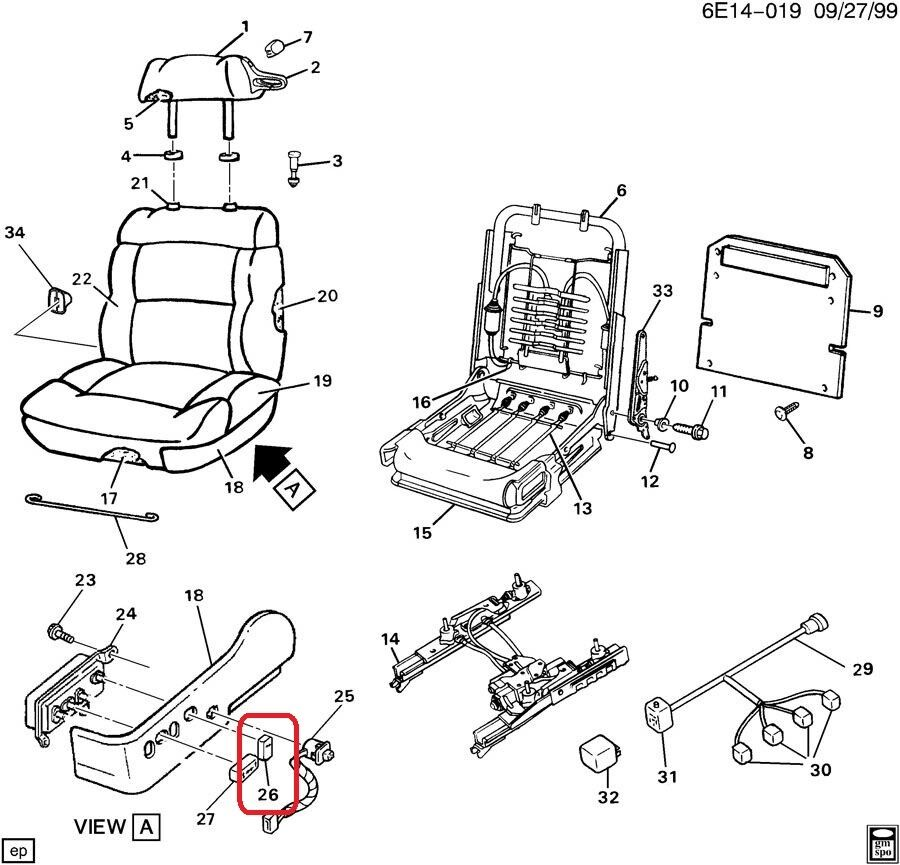 KNOB. Front Driver Seat Back Reclining (Gray) Genuine GM