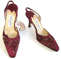 Jimmy Choo Sandals Heels 8.5 Cm Satin Bordeaux And Leather 36 - jimmy choo - ebay.co.uk