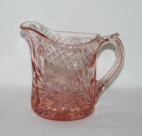 U.S. Glass Co. FLORAL AND DIAMOND Pink Large Flat Creamer