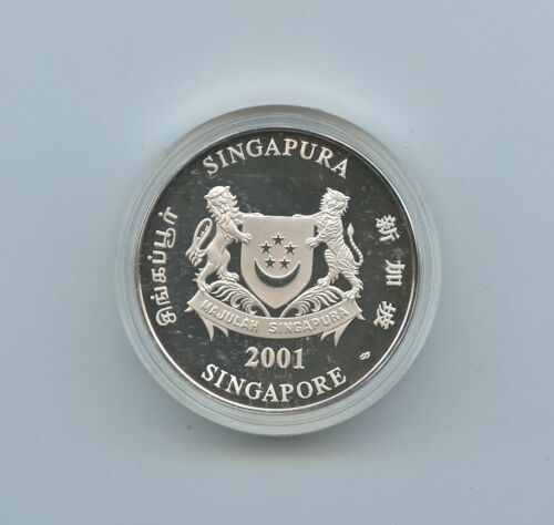 2001 Singapore 2 Troy Oz Silver $10 Coin