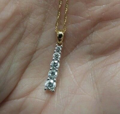 5/8CTTW DIAMOND DROP PENDANT 14KT YELLOW - 5 Diamonds Drop Pendant