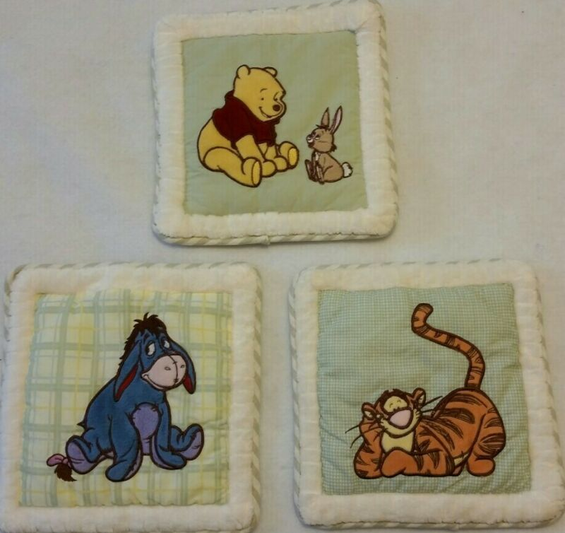 "Winnie the Pooh Tigger Eeyore Plush Fabric Nursery Wall Hangings Set of 3 10"""
