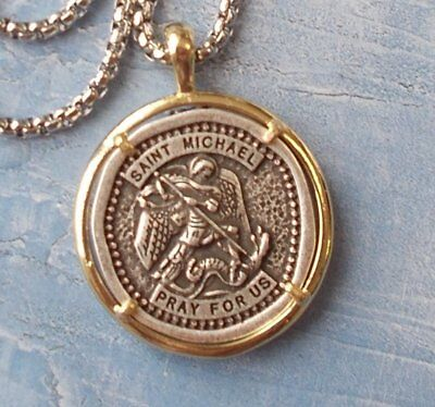 UNIQUE~Large 2 tone St. Michael Pendant/Necklace/Medal with 24