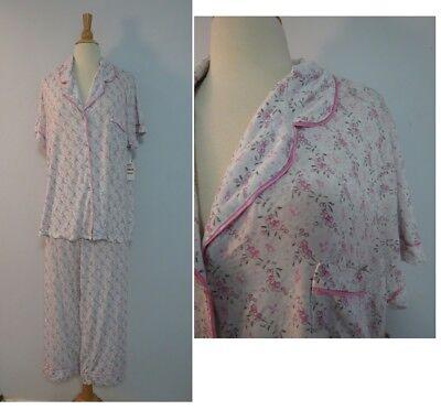 Alfani Satin Trim Floral Print Modal Knit 2-Piece Pajama Set S 2XL 3XL