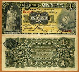 Mexico-Banco-Penninsular-1-peso-1913-P-S464-464b-XF-Scarce