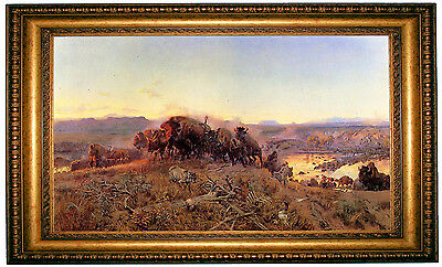 CM Russell When the Land Belonged to God 1914 - Gold Framed Canvas Art M 38x25