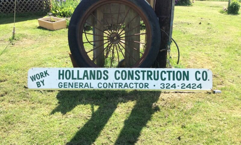 Vintage Large 8ft Wooden Local Construction Advertising Sign