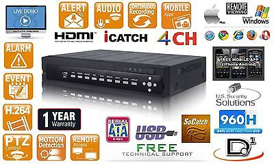 4CH 120FPS D1/960H Video Audio DVR Network VGA HDMI Audio smart Cell support