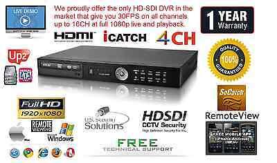 4 Channel HD-SDI True Full HD DVR H264 1920X1080 @ 120FPS Netwrok HDMI 1080P 2TB 4 Channel Networking Dvr
