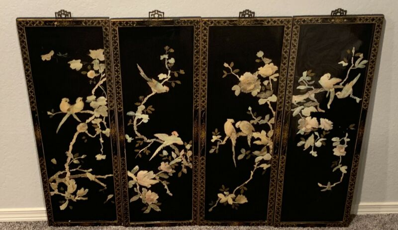 4 Vintage Oriental Black Laquer Mother of Pearl Wood Hanging Bird Wall Panels