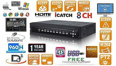 8CH 120FPS D1/960H Video Audio DVR Network VGA HDMI Audio smart Cell support