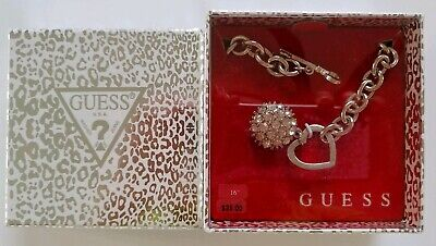 GUESS SILVER TONE NECKLACE W/RHINESTONE CHARM - NEW IN BOX