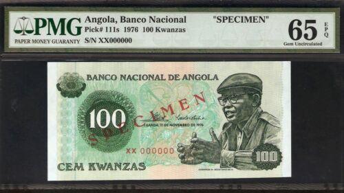 Angola 100 Kwanzas 1976 SPECIMEN PMG 65 EPQ UNC Pick # 111s  S/N XX000000