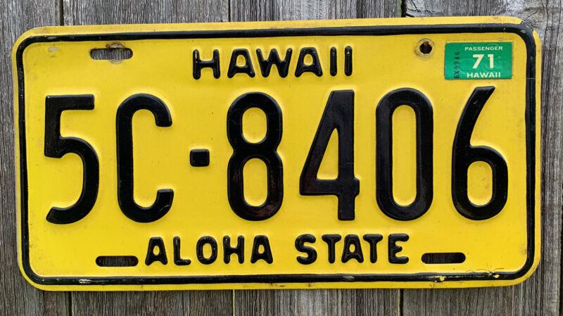 RARE 1971 Hawaii License Plate Tag, Vintage, Original, Used