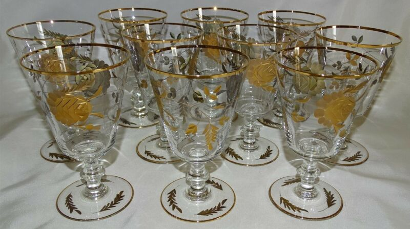 Tiffin USA 11 Water Goblets - Cut Rose Design Encrusted with Gold #17395