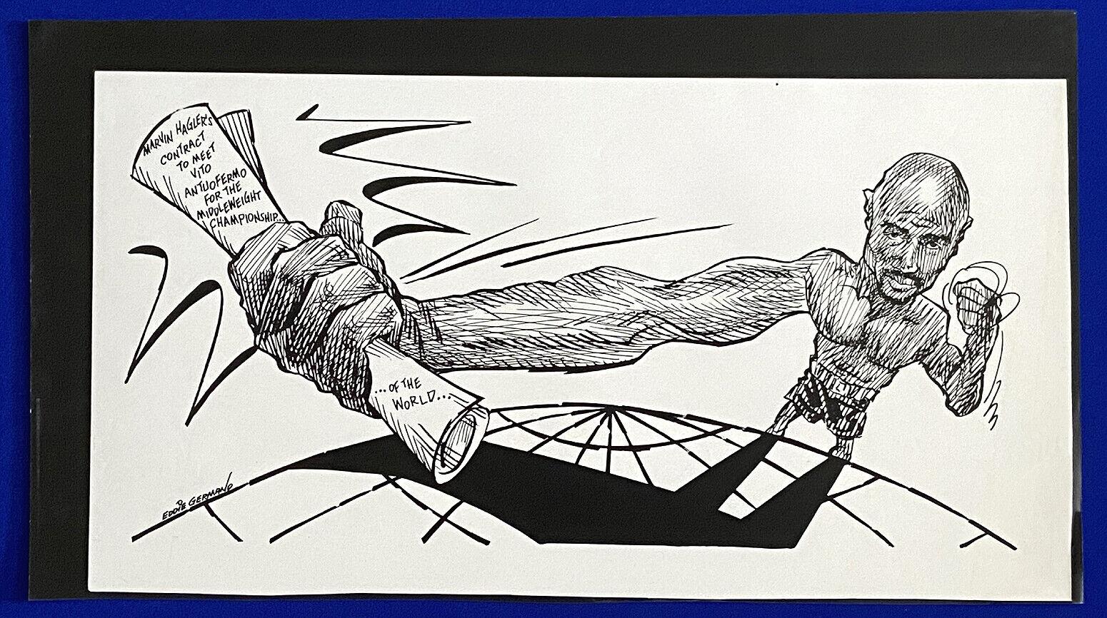 1979 marvin hagler vito antuofermo boxing 14x24 original cartoon art by germano