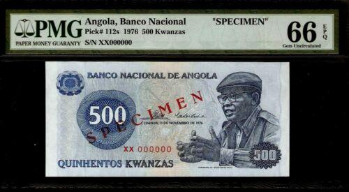 Angola 500 Kwanzas 1976 SPECIMEN PMG 66 EPQ UNC Pick # 112s  S/N XX000000