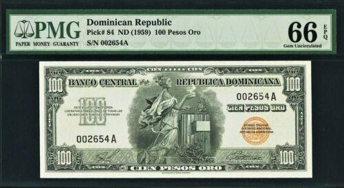 Dominican Republic 100 Pesos Oro ND (1959) Pick-84 GEM UNC PMG 66 EPQ
