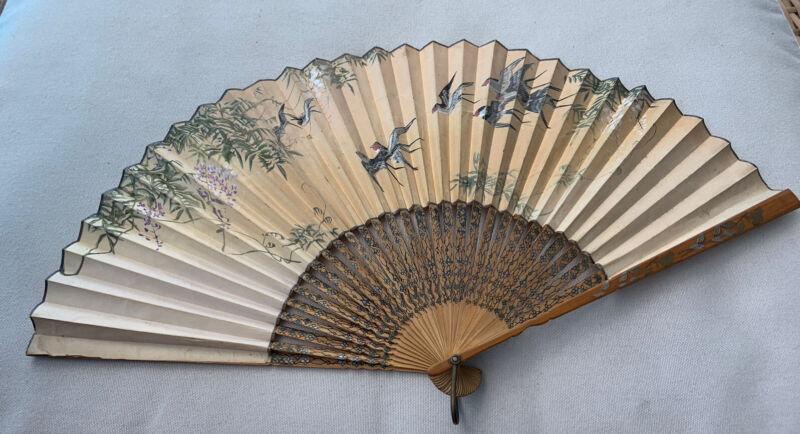 Antique Japan Champagne Heidsieck Fan Handfan Painted 1900 Birds Brise