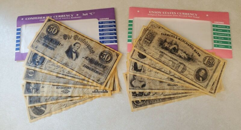 Historical Documents Co. Parchment Currency REPLICA Lot Union Confederate States