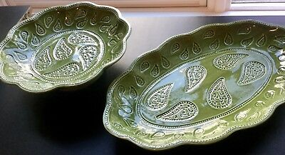 """J. Willfred OVAL 18"""" PLATTER & ROUND 12"""" FOOTED BOWL Sadek Portugal Green Leaves for sale  Providence"""