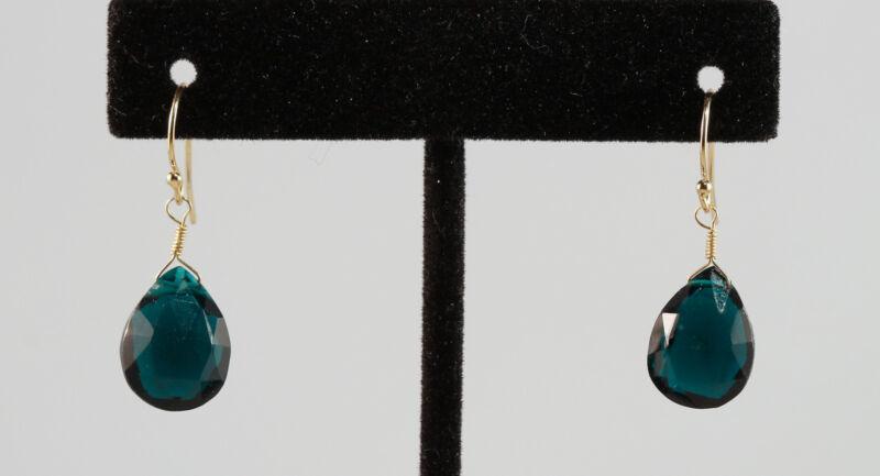 Greenwood Designs Teal Blue Green Quartz 14k gf Gold Hook Earrings