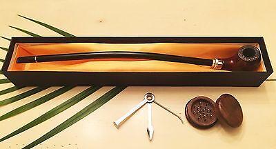 "Gandalf 16"" Tobacco Smoking Pipe with BONUS Wood Grinder, Cleaning Tool, Screens"