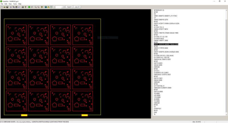 LaserSim Sheet Metal NC Laser G-code Editor + Simulator for Amada Laser Machines