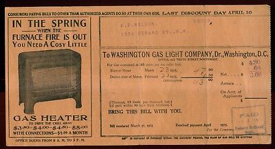 1915 Washington Gas Light Company Bill With Advertising   Washington Dc