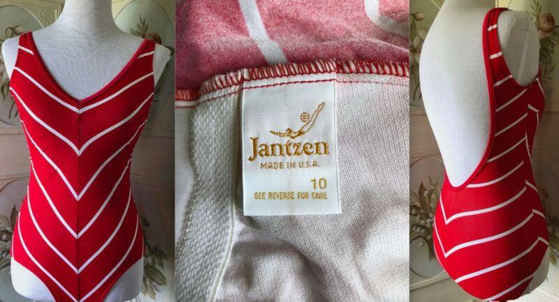 VTG JANTZEN USA SWIMMER LABEL RED WHITE V STRIPE SWIM BATHING SUIT 1-PIECE 10