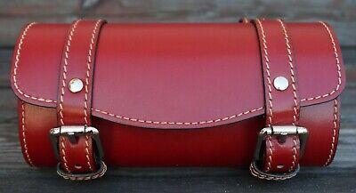 Front Leather Top Case Tool Roll Handlebar Bag Vespa Sprint Primavera 946, RED