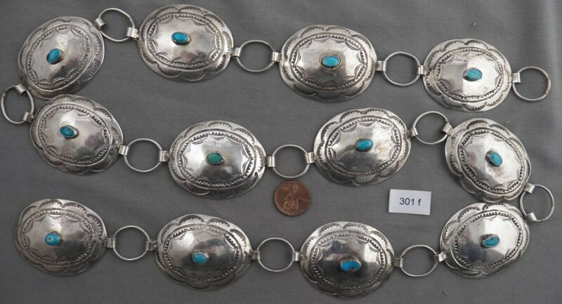 """Indian Jewelry: Vintage Link Concho Belt, Sterling & Turquoise, 35"""" Long"""