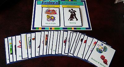 CARE HOME DAILY ACTIVITIES BOARD WITH 24 CARDS- DEMENTIA/ELDERLY/SPECIAL - Need Daily Care
