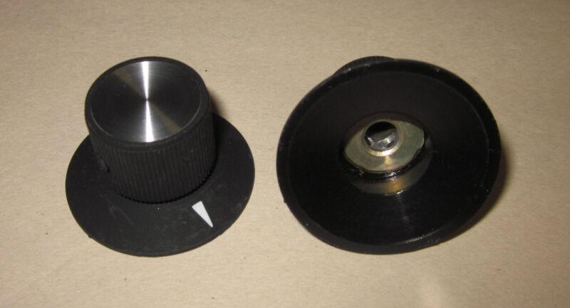 "NOS Raytheon/EHC Regent Dial Knob with Arrow, Matte Black w/ Inlay, 1/4"" Shaft"
