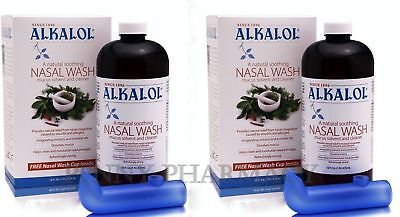 Alkalol Liquid 16 oz Kit - Nasal Wash w/ Nasal Cups ( 2 Pack ) PRIORITY SHIP**** - Nasal Rinse Cup